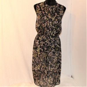 Merona Dress XS Black Floral See through